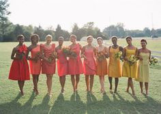 Eric Kelley/Lora Elaine via Southern Weddings | Ombre Bridesmaid Dresses #wedding #bridesmaids #ombre