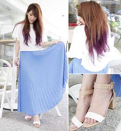 Top With Kimono Sleeve, Pleated Maxi Skirt
