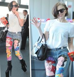 The Custom Lady Gaga Princess Jeans Could Easily Be a DIY Project #Princess #Disney