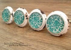 SET OF 10 Distressed Cream and Teal Floral Metal by knobpologie