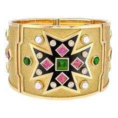 Verdura Maltese Cross Pink & Chrome Tourmaline Bracelet