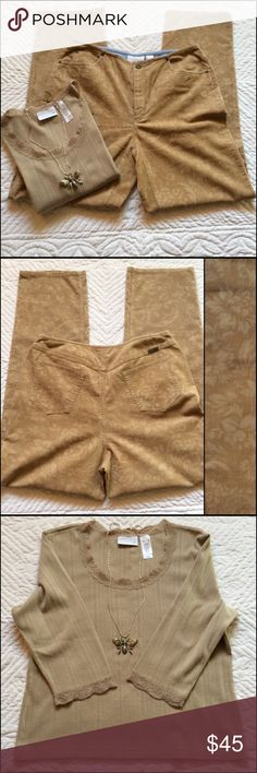 "Two Piece Set Pants And Top From Liz Claiborne Both pieces are NWT. Pants are a very fine pinwale corduroy, with a nice pattern. See photos for all details. Inseam is 31 inches , straight leg. Waist button is 34 inches. 98% Cotton 2% Spandex Machine wash /dry  The top is a size XL 100% Cotton Machine wash /dry Sleeves are 3/4 style and the length is 21"" Across the front only is 21"" Lace accents the neckline and a sleeve hem. Bundle and Save 20% liz Claiborne  Pants Straight Leg"