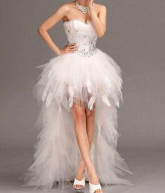2013 New Feather Front Short Long Back white/ivory wedding dress custom all size
