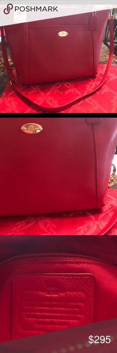 Red Coach Pocket Tote New with tags still on it. Never used. One small mark. See pictures. Otherwise she is waiting for a good home. It was kept in proper storage so leather and insides are clean. Please make an offer. Coach Bags Totes