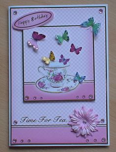 #Hunkydory A card for a friends birthday made using the Hunkydory Time for tea kit