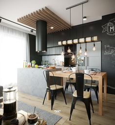 Wnętrze mieszkania o jakim marzysz Loft Kitchen, Kitchen Sets, Dream Home Design, House Design, Best Kitchen Designs, Interior Decorating, Interior Design, White Paneling, Kitchenette