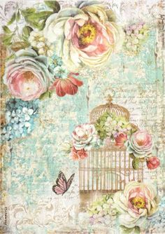 Rice Paper for Decoupage, Scrapbook Sheet, Craft Paper Birdcage and Butterfly
