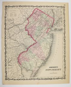 New Jersey Map State 1862 Johnson Map Wedding Gift Idea Under 100 For The Home Office Decor Wall Map Art Antique Travel Map Historic Gift