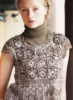 Women's tunic knit and crochet with diagrams