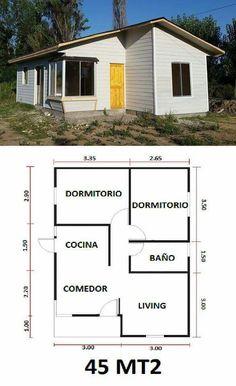 Vivienda popular Ecuador Small Floor Plans, Small House Plans, Sims House Plans, House Floor Plans, 2 Bedroom House Plans, House Construction Plan, Apartment Floor Plans, Cottage Plan, Tiny House Cabin