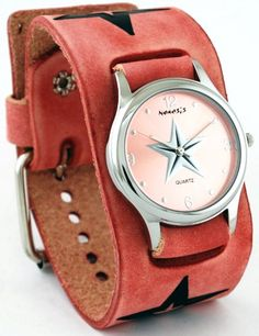 Nemesis PST355P Womens Embossed Star Icon Pink Wide Cuff Leather Band Watch * You can get additional details at the image link.Note:It is affiliate link to Amazon.