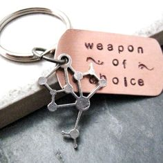 MOLECULE Weapon of Choice Stamped Keychain alt by riskybeads, $14.95