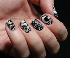 Sassy Shelly: Nails and Attitude: Digit-al Dozen DOES Black & White ~ Day 4: Watermarble with Kiss Nail Dress stickers