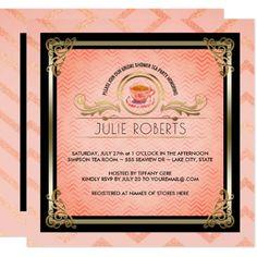 Bridal Shower Tea Party Tiffany Pink Chevrons Card - bridesmaid gifts bridal bride wedding marriage