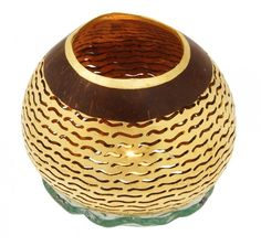 Perforated Coconut Candle light with Gold Leaf