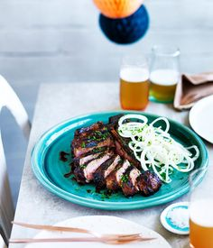 Teriyaki T-bone with onion salad recipe | Cho Cho San, Sydney :: Gourmet Traveller