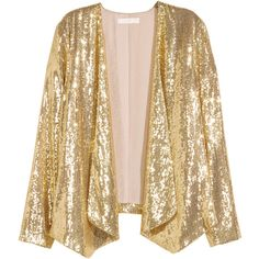 Sequined Jacket $59.99 (1,010 MXN) ❤ liked on Polyvore featuring outerwear, jackets, draped jacket, sequin jacket, lined jacket, embroidered jacket and chiffon jacket