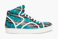 Lanvin Water Serpent Tennis Sneakers: From Lanvin's highly successful sneaker program is a new iteration of its popular mid-top Tennis Sneakers, High Top Sneakers, Style Scrapbook, Mens Fashion Week, Day Bag, Stiletto Pumps, Hot Shoes, Shoe Collection, Lanvin