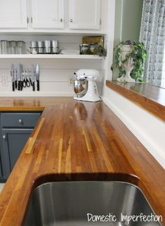 my butcher block countertops two years later