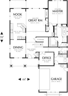 Craftsman Style House Plan - 3 Beds 2.5 Baths 2507 Sq/Ft Plan #48-267 Floor Plan - Main Floor Plan - Houseplans.com