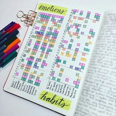 How to Track Your Mood in Your Bullet Journal. Fresh ideas for layouts. This monthly spread has a habit tracker on the same page as the emotion tracker. Would you go for colorful markers, soft-colored pencils or mildliners?