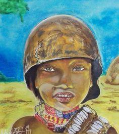 Afrikai gyerek - African children pastell painting 50*70 cm