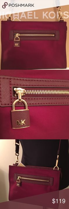 🆕MICHAEL KORS NEW CROSSBODY BAG 💯AUTHENTIC MICHAEL KORS NEW NEVER USED WITH TAGS ADJUSTABLE CROSSBODY BAG 100% AUTHENTIC. STUNNING AND STYLISH. PERFECTLY ON TREND FOR THE WOMAN ON THE GO. A BEAUTIFUL DEEP MERLOT PLUM COLOR. THIS AMAZING BAG HAS FRONT AND REAR POCKETS AND TWO LARGE INTERIOR WALL POCKETS. THIS STUNNING BAG HAS A ZIP TOP. THIS BAG MEASURES 9.75 INCHES WIDE AND 7 INCHES TALL. IT ALSO HAS A LONG SHOULDER/ CROSSBODY STRAP. Michael Kors Bags Crossbody Bags
