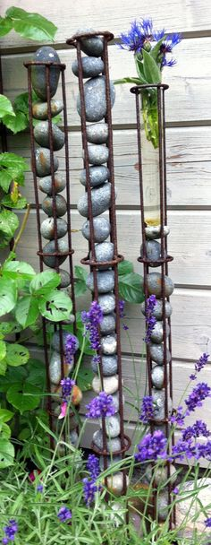 Vertical garden metal sculptures