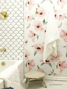 WOW-Worthy Bathroom Wallpaper Ideas – The Crazy Craft Lady Bathroom Wallpaper Ideas: glam farmhouse design with pink floral wallpaper Girl Bathrooms, Bathroom Kids, Wall Paper Bathroom, Girl Bathroom Ideas, Bathroom Plants, Bathroom Inspo, Of Wallpaper, Wallpaper Ideas, Bathroom Wallpaper Floral