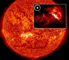 Solar activity is high. On October 24, 2013 at 00:30 UT, Earth-facing sunspot AR1877 erupted, producing a powerful M9-class solar flare. NASA's Solar Dynamics Observatory recorded the blast. More flares are in the offing. Two large sunspots, AR1875 and AR1877, have 'beta-gamma-delta' magnetic fields that harbor energy for strong eruptions. NOAA forecasters estimate a 40% chance of M-flares and a 5% chance of X-flares during the next 24 hours. Helix Nebula, Orion Nebula, Andromeda Galaxy, Solar Activity, Carina Nebula, Hubble Images, Star Formation, Whirlpool Galaxy, Star Cluster