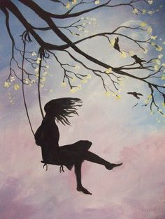 Girl on a Swing. Karen Griffiths Davis, 2016, from a tutorial by Cinnamon Cooney.