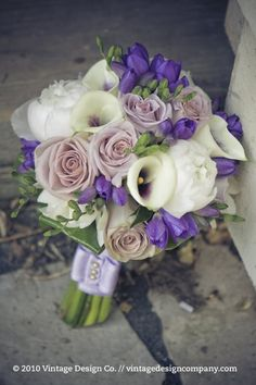 purple lilac white wedding bouquet flowers