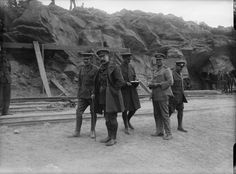 MINISTRY INFORMATION FIRST WORLD WAR OFFICIAL COLLECTION (Q 13553)   Major-General Altham, Inspector-General Line of Communications, (nearest camera) visiting Suvla with Commander Unwin, V. C., R. N., Beach Master at Suvla.
