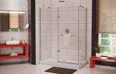 MAAX Reveal 48 in. Frameless Corner Pivot Shower Enclosure in Chrome with - The Home Depot Corner Shower Doors, Corner Shower Enclosures, Home Depot Bathroom, Bathroom Renos, Bathroom Ideas, Bath Ideas, Master Bathroom, Glass Shower, Shower Tub