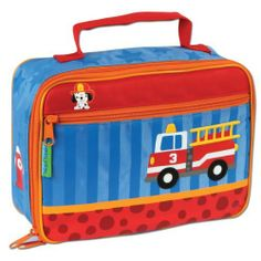 Stephen Joseph Lunchbox, Firetruck by stephen joseph kitchen. $13.06. Velcro strap to holds drinks in place. Zipper closure. Coordinates with stephen joseph go-go bags and stainless steel water bottles. Stephen Joseph's Lunchboxes are fully lined and insulated and feature a zipper closure. Inside is a mesh pouch and velcro strap to hold drinks in place. Wipe Clean.. Save 18%!
