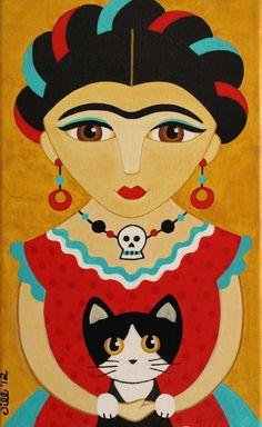 FRIDA Kahlo in Red Dress with CAT Folk Art PRINT от thatsmycat