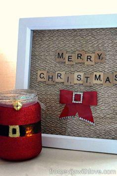 Christmas Scrabble Art Frame - Easy and Fun Project Scrabble Letter Crafts, Scrabble Frame, Scrabble Art, Scrabble Tiles, Christmas Frames, Christmas Pictures, Christmas Art, Christmas Ideas, Holiday Ideas