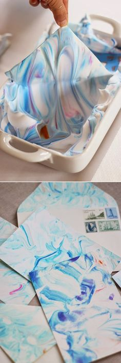 A great accent to my books -- I have been wanting to marble paper for a long time now!  Gotta try it! DIY Paper Marbling - so fun and so easy! This would make beautiful custom stationary.