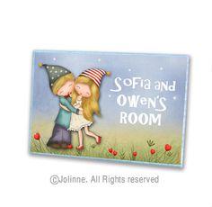 Personalized kids sign, Brother sister door sign, kids art, twins room sign,door sign custom, door sign, kids door signs