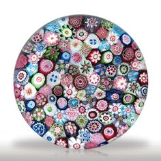 """Antique Clichy close packed millefiori in a stave basket """"C"""" cane paperweight.(53) images"""