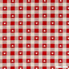891618 Jacquard rød/offwhite ruter/ små hjerter