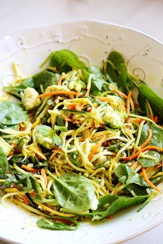 ... squash noodle salad with greens # food no actual noodles involved