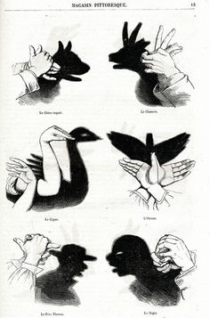 vintage French 1863 Chinese shadow puppetry by LyraNebulaPrints - [from someone else's caption] Shadow Art, Shadow Play, Shadow Puppets With Hands, Hand Shadows, Activities For Kids, Crafts For Kids, Parlor Games, Shadow Theatre, Victorian Parlor