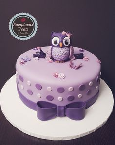 Purple Theme Owl Baby Shower Cake ~ Custom-Made-To-Order Cakes, Cookies & Cupcakes Edible Art ~ www.sumptuoustreats.com