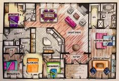 I like the colors in this floor plan but i feel like the bedroom #3 is awkwardly placed by the kitchen.