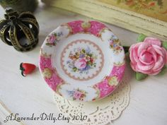 Lady Carlyle Pink Dollhouse Plate by alavenderdilly on Etsy, $4.00