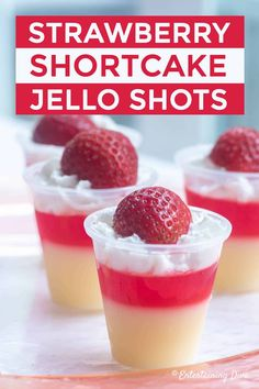 These red and white strawberry shortcake jello shots are to die for! They taste … These red and white strawberry shortcake jello shots are to die for! They taste delicious and could be used for either a dessert or a cocktail at an adult birthday party. Best Jello Shots, Jello Pudding Shots, Vanilla Pudding Shots, Summer Jello Shots, Jello Shot Recipes, Alcohol Drink Recipes, Cake Vodka Recipes, Alcohol Jello Shots, Recipe For Jello Shots
