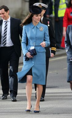 Catherine, Duchess of Cambridge makes her way to the reception of the 75th anniversary of the RAF Air Cadets at St Clement Danes Church on February 7, 2016 in London, England following the church service.
