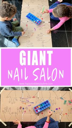 GIANT Nail Salon : A fun fine motor art activity! Paint nails in this GIANT nail salon for kids! Here is a GIGANTIC list of GIANT indoor kids activities to do with your toddler or preschooler indoors. From letters to sensory to art and more. Toddler Learning Activities, Indoor Activities For Kids, Craft Activities For Kids, Preschool Crafts, Kids Crafts, Nanny Activities, Educational Activities, Kid Activites, Diy Crafts