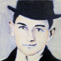 Franz Kafka Oil & watercolor on canvas Watercolor Canvas, Oil, Butter